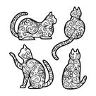 Engraved Set Of Decorative Cats