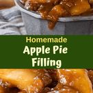 Homemade Apple Pie Filling combines fresh apples in a brown sugar sauce loaded with warm cinnamon. This easy Apple Pie Filling from scratch can be eaten as a sauce or added to a tart shell for a quick apple dessert. #apples #applepie #piefilling #homemade #fallrecipes #holidayrecipes #hostessatheart
