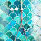 Handmade ceramic mosaic tiles, Morocco Fish Scale, Light Turquoise Crackle and Emerald Green Bathroom or Kitchen Tiles, 89 pieces = 1m2