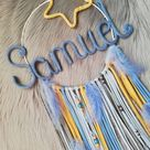 Dream catcher with name personalized - lettering of wire & wool - gift for birth baptism - nursery baby dreamcatcher wall decoration