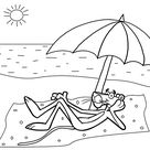 Pink Panther on the beach coloring pages for kids, printable free - Pink Panther cartoon