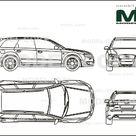 Audi RS4 Avant 2006   2D drawing blueprints   25521   Model COPY   English