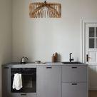 Kitchen Wood Pendant Light Shade, Modern Mid Century Vintage Scandinavian Ceiling Chandelier Brown
