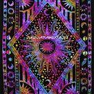 FUTURE HANDMADE Wandteppich, Mandala, Sonne, Mond, Batik, Wandbehang, indischer, Psychedelischer Hippie-Stil, Strandtuch, Überwurf, Bohemian-Stil, Tagesdecke