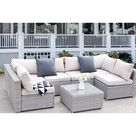 Clearance! Patio Outdoor Furniture Sets, 7 Pieces All-Weather Rattan Sectional Sofa with Tea Table, Cushions & Pillow, PE Rattan Wicker Sofa Couch Conversation Set for Garden Backyard Poolside, B221 - Walmart.com