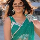 Deeksha Seth Hot Navel Show in See Green Saree