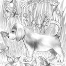 Friendly Puppy - Printable Adult Coloring Page from Favoreads (Coloring book pages for adults and kids, Coloring sheets, Colouring designs)