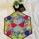 Bright Hexagon Table Centerpiece, Hand Pieced Decor, Table Centerpiece, Decoration, Bright, Modern