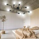Vintage Deckenleuchte Industrial Lampe Deckenlampe Pendelleuchte mit 8 flammig E27 Schwarz