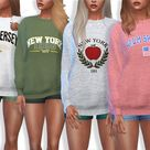 The Sims Resource: Sporty and Everyday Sweatshirts by Pinkzombiecupcakes • Sims 4 Downloads
