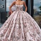 Princess Ball Gown Spaghetti Straps Beads Floral Print Prom Dresses Long Quinceanera Dress P1180   US8 / Pearl Pink
