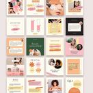 115 Feminine Instagram Post Templates Canva | Beauty Female coach Entrepreneur | social media feed layout | eyebrow eyelashes blog marketing