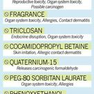 8 toxins to avoid in shampoo & body wash. They can cause skin & organ system toxicity, Endocrine disruption, Allergies, Skin, Eye & Lung irritant