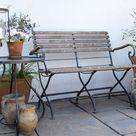 Wrought Steel & Teak Folding Garden Bench By Smith & Hawken, Mill Valley, California