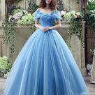 Blue Princess Off Shoulder A-line Long Evening Prom Dresses, Cheap Sweet 16 Dresses, 18344 - US20 / Picture color