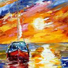Fine art Print   Sunset Sailing   image printed from past painting by Karen Tarlton impressionistic palette knife fine art