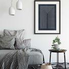 Mid Century Modern Prints Living Room, Mid Century Poster, Scandinavian Print, Blue Wall Art, Boho Print, Minimalist Large Poster Print