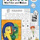 Picasso im Kunstunterricht, Würfeln und Malen Picasso, Kunst in der Grundschule – Unterrichtsmaterial im Fach Kunst