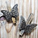 BUTTERFLY WOODEN CLOTHESPINS Clothes Pin Decorative Magnet Push Pin Thumbtack Set Holder Cubicle Decor Clip Peg Magnetic Office Supply