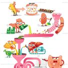 Digestive system steps cartoon scheme with inner organ characters