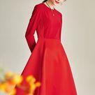 High end Retro Audrey Hepburn High Waist 1950 vintage red Satin midi cocktail banquet red dress - Im — GOOD GIRL REBEL