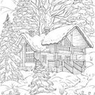 Winter House - Printable Adult Coloring Page from Favoreads (Coloring book pages for adults and kids, Coloring sheets, Colouring designs)
