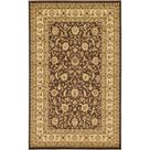 5' x 8' Brown and Ivory Traditional Rectangular Area Throw Rug