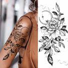 Black Large Snake Flower Fake Tattoo Sticker For Women Dot Rose Peony Temporary Tattoos DIY Water Transfer Tatoos Girls