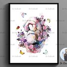 Pregnancy Print Set 6, Baby Shower Decor, Floral Fetus in Womb, Pregnant Woman Gift, Obstetrician Gift, Gynecologist Gift, Midwife Gift