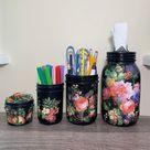 Vintage Flower On Black Mason Jar Desk Set, Decoupage Jar, Office Desk Organizer, Desk Office Decor, Office Desk Accessories,Office Supplies