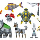 Vector cartoon mechanical robotic animals. Toy androids with artificial intelligence, pets for games. Creature produced by people. Futuristic artificial pets friend technology