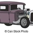 Cartoon retro hot rod isolated on white background. available eps-8 vector format separated by groups and layers for easy