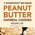 3 Ingredient No Bake Cookies (Vegan) - Peanut Butter Oatmeal Cookies!