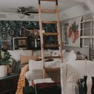 Sliding Ladder DIY + Floral Wallpaper Accent Wall