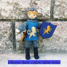 Dollhouse Castle Knight Doll (blue tunic) - Red hair #5