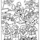 Kleurplaat - Paasei verstoppen kinderen