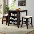 3 Piece Square Dining Table With Padded Stools, Table Set With Storage Shelf,Brown