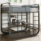 Macai Contemporary Metal Bunk Bed, Gun Metal