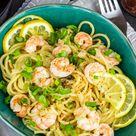 Zitronen-Spaghetti mit Garnelen und Parmesan (frisch, viel Knoblauch und kalorienarm) - Kalorien genießen