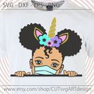 Peek a boo girl svg, with afro ponytaits and unicorn horn headband svg Cute Peekaboo African American kids cut files for Cricut Silhouette