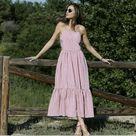 Zara Pink Striped Strappy Maxi Poplin Dress Size XS #Zara #Maxi #BusinessCasualFormalHolyCommunionPartyCocktailTravelWeddingWorkwear
