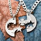 Firefighter and Police Couples Necklaces, Best Friend Gifts, Police Badge and FireMan Symbol, Hand Cut Coin
