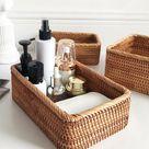 Hand-Woven Rectangular Rattan Wicker Basket Fruit Tea Snack Bread Picnic Cosmetic Storage Box Kitche