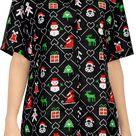 LA LEELA Women's Tropical Santa Claus Party Ugly Hawaiian Christmas Day Shirts Black - M - US 36 - 38D / Black / Soft Likre