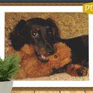 Counted Cross Stitch Pattern Miniature Long Hair Dachshund PDF cs0646
