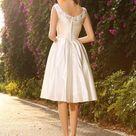 Ivory Short Knee Length V Neck Beading Ruched Satin Short Wedding Dress