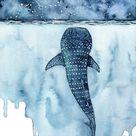 Aquarell, Wal Hai Malerei, Wal Malerei, Wal Druck, Wal Kunst, Wal Druck, Strand Dekor, Druck mit dem Titel,