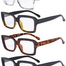 4 Pack Ladies Reading Glasses - Stylish Oversized Square Readers for Women