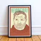 Hemingway Print! Ernest Hemingway Poster, A Farewell to Arms , For Whom the Bell Tolls, The Old Man and the Sea