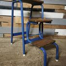 Retro vintage mid century blue industrial step ladder / stool free UK delivery
